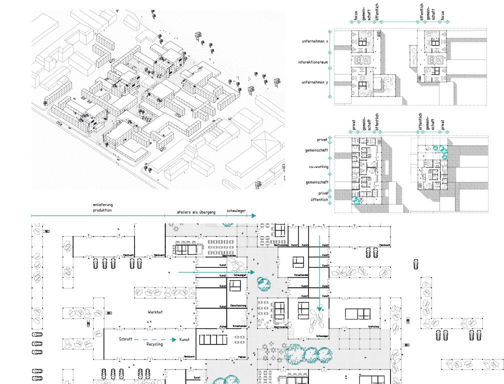 """Studentenwettbewerb - 1. Preis: """"Productive Workspace"""" Herzbergstraße, Berlin Pia Gesenhues und Lisa-Marie Schwuchow, Gottfried-Wilhelm-Leibniz-Universität Hannover"""